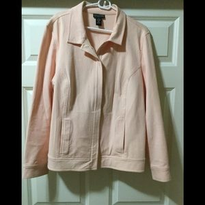 Peach colored jacket with a lot of stretch